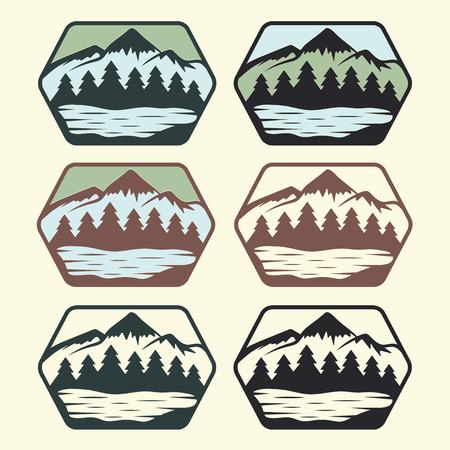 Ilustración de set of vintage labels with lake,mountains and pines - Imagen libre de derechos