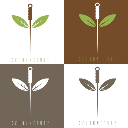 Illustration pour Vector design template of acupuncture needle and leaves - image libre de droit