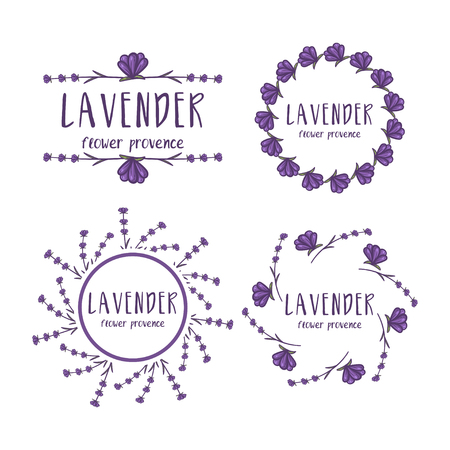 Illustration for Set of template logo design of abstract icon lavender. Vector illustration - Royalty Free Image