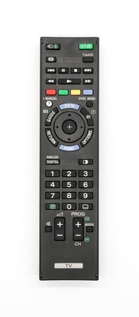 Foto de Universal remote control isolated on white background. Old TV remote controller. - Imagen libre de derechos