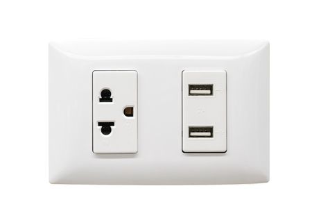 Photo for White electrical plug and USB wall outlet isolated on white background - Royalty Free Image