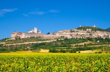Photo pour Assisi, Umbria (Italy) - The awesome medieval stone town in Umbria region, with the castle and the famous Saint Francis sanctuary. - image libre de droit