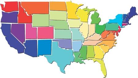 Illustration pour Colorful USA map  - image libre de droit
