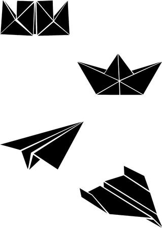 Illustration pour Origami paper boats and planes  - image libre de droit