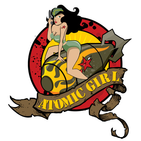 Photo pour Atomic Girl Pin Up - image libre de droit