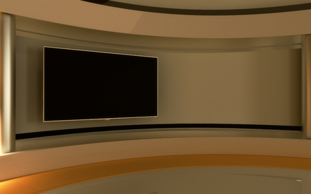 Foto de Tv Studio. News studio. The perfect backdrop for any green screen or chroma key video or photo production. 3d render. 3d visualisation - Imagen libre de derechos