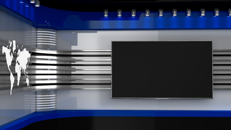 Photo pour Tv Studio. Backdrop for TV shows .TV on wall. News studio. The perfect backdrop for any green screen or chroma key video or photo production. 3D rendering. - image libre de droit