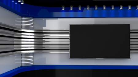 Photo for Tv Studio. Backdrop for TV shows .TV on wall. News studio. The perfect backdrop for any green screen or chroma key video or photo production. 3D rendering. - Royalty Free Image