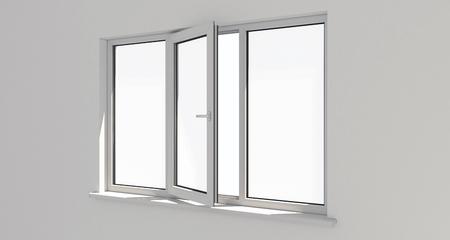 Photo pour Window. Wall.White wall . Aluminum window. White window. Pvc window. 3d. 3D render. - image libre de droit