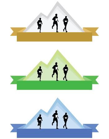 Ilustración de Color mountain running icons or badges vector illustration isolated on white background. - Imagen libre de derechos