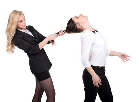Women fight  Two women fighting while isolated on white