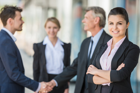 Foto per Meeting of business people. Two confident business men shaking hands. - Immagine Royalty Free