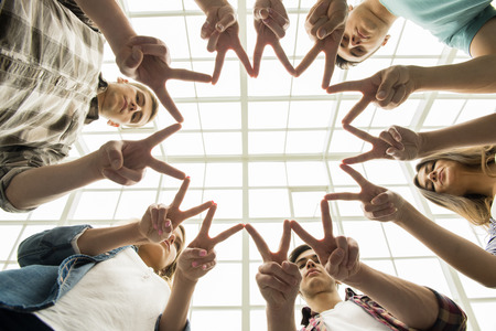 Foto de Circle of trust. Group of people sitting in circle and supporting each other. - Imagen libre de derechos