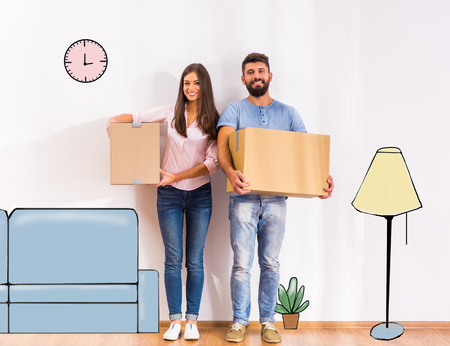 Photo pour Young happy couple moving to a new home with boxes - image libre de droit