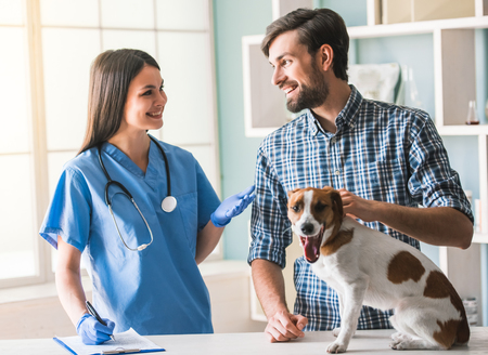 Photo pour Beautiful female veterinarian and handsome guardian are talking and smiling while dog is sitting calmly on the table - image libre de droit