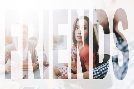 Foto de Cropped Photo of Playing Best Friends. Guys Playing Cards. At Home Friends Spend Time. Guys Relax Together. Comfortable Spending Time. Happy Weekend with Friends. Girl Looking on Man . - Imagen libre de derechos