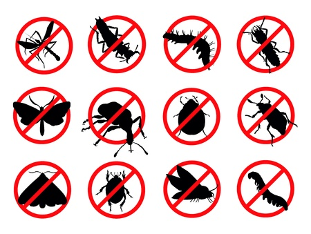 Pests silhouettes isolated  Insect reppelent emblem