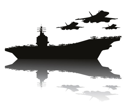 Illustrazione per Aircraft carrier and flying aircrafts detailed silhouettes  Vector EPS10 - Immagini Royalty Free