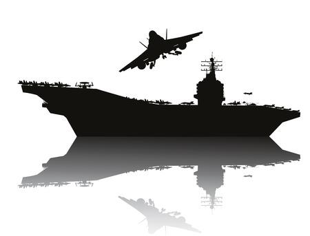 Ilustración de Aircraft carrier and flying aircraft detailed silhouettes    - Imagen libre de derechos