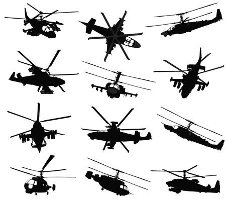 Illustration pour Military helicopter silhouettes set.  - image libre de droit