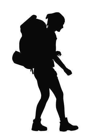 Illustration pour Girl with backpack vector silhouette. EPS 8 - image libre de droit