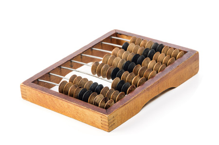 Foto de Old wooden abacus. Object isolated on white background - Imagen libre de derechos