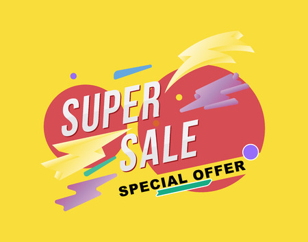 Illustration for Super sale poster and flyer. Template for design poster, flyer and banner on yellow background. Flat vector illustration EPS 10. - Royalty Free Image