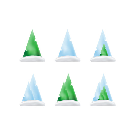 Illustration pour Set of green trees and mountains in the snow in a gradient for christmas and new year. Vector elements isolated on white background. - image libre de droit