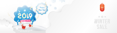 Illustration pour Winter Sale 25% off. Happy new year 2019 Long greeting card template with gift box and snowdrifts on blue background with special offer. Creative banner with ribbons and light effects. Flat vector illustration EPS10. - image libre de droit