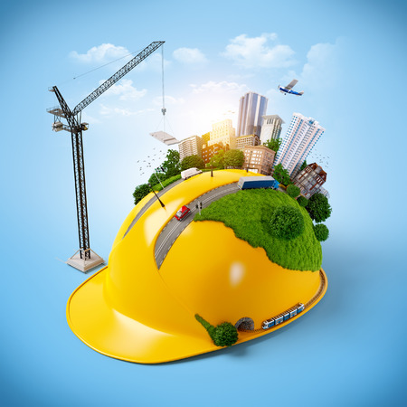 Photo pour City on the construction helmet.  - image libre de droit