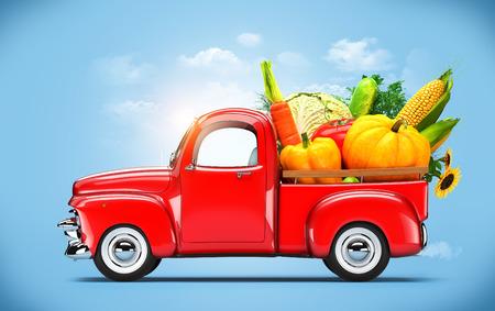 Photo pour Pickup truck loaded by vegetables   - image libre de droit