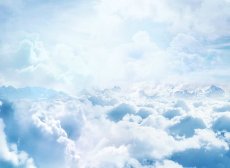 Photo for Over the Clouds  Fantastic background with clouds and mountain peaks - Royalty Free Image