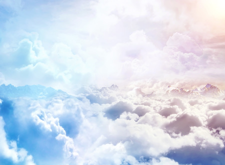 Photo for Over the Clouds. Fantastic background with clouds and mountain peaks - Royalty Free Image