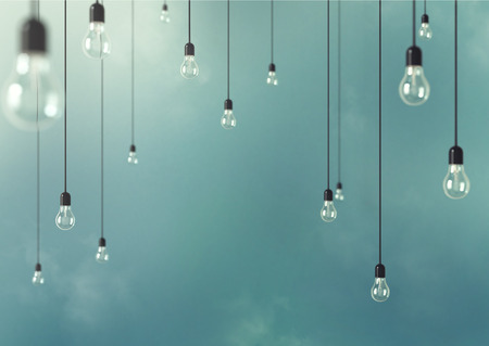 Photo for Photo of Hanging light bulbs with depth of field. Modern art - Royalty Free Image