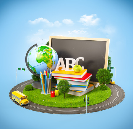 Photo for Unusual Back to school concept. Illustration of education theme - Royalty Free Image