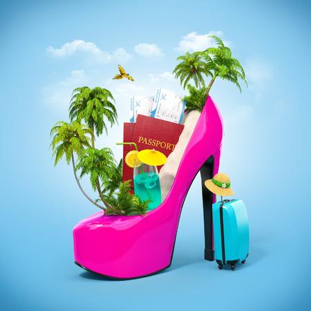 Foto de Tropical island in the women's shoe. Unusual travel illustration - Imagen libre de derechos