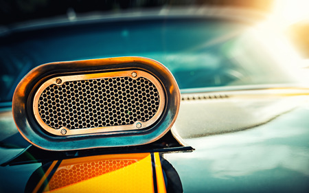 Photo for Powerful muscle car. Closeup photo of the hood - Royalty Free Image