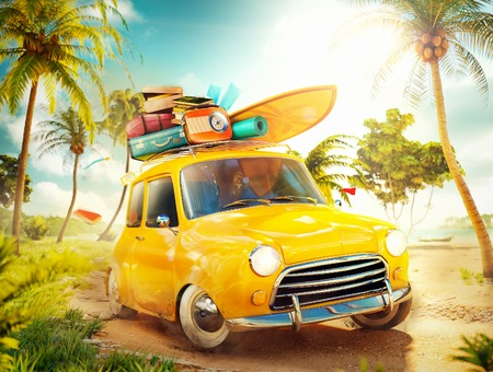 Foto de Funny retro car with surfboard and suitcases on a beach with palms. Unusual summer travel illustration - Imagen libre de derechos