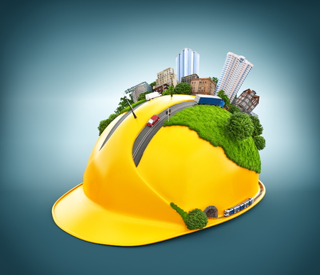 Foto per City on the construction helmet. - Immagine Royalty Free
