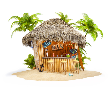 Foto de Bamboo tropical bar on a pile of sand. Unusual travel illustration. Isolated - Imagen libre de derechos