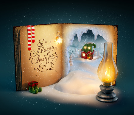 Foto de Magical opened book with fairy country and christmas stories. Unusual christmas illustration - Imagen libre de derechos
