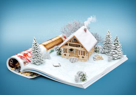 Foto de Cute log house on a page of opened magazine in winter. Unusual winter illustration - Imagen libre de derechos