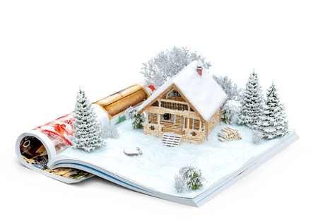 Photo pour Cute log house on a page of opened magazine in winter. Unusual winter illustration. Isolated - image libre de droit