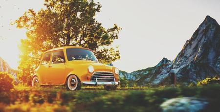 Photo pour Cute little retro car goes by wonderful countryside road at sunset - image libre de droit