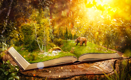 Photo for Opened book with wild forest and bear on pages. Endangered-species list. Unusual 3D illustration - Royalty Free Image