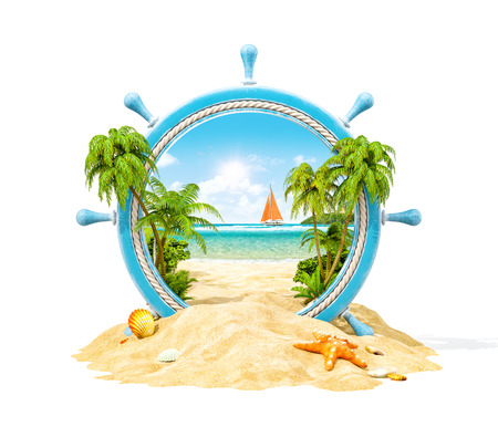 Photo pour Wonderful tropical landscape with palms and beach in wooden helm. Unusual 3D illustration. Isolated - image libre de droit
