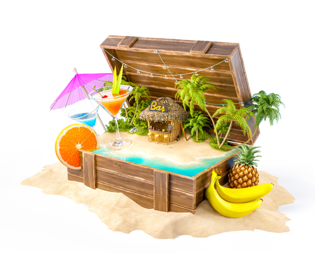 Foto de Tropical bar with cocktails and fresh fruits on the island inside opened wooden box on a pile of sand. Unusual party illustration. Isolated - Imagen libre de derechos