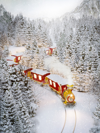 Photo pour Amazing cute christmas train goes through fantastic winter forest in north pole. Unusual christmas 3d illustration - image libre de droit