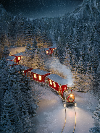 Photo for Amazing cute christmas train goes through fantastic winter forest in north pole. Unusual christmas 3d illustration - Royalty Free Image