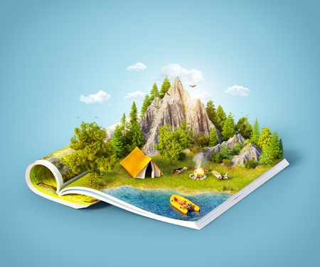 Foto per Mountain in forest, green meadow and camp tent near a lake on opened pages of magazine. Unusual 3d illustration. Travel and camping concept - Immagine Royalty Free